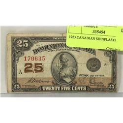 1923 CANADIAN SHINPLASTER