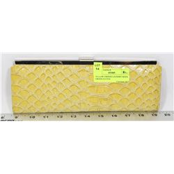 YELLOW CHINESE LAUNDRY MOCK CROCK CLUTCH