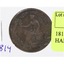 1814 LOWER CANADA WELLINGTON HALF PENNY