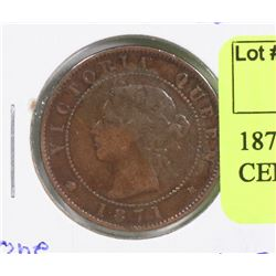 1871 PRINCE EDWARD ISLAND ONE CENT COIN