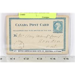 1871 CANADAS FIRST ISSUED POST CARD