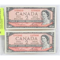 LOT OF TWO 1954 CANADIAN $2.00 BILLS LAWSON &