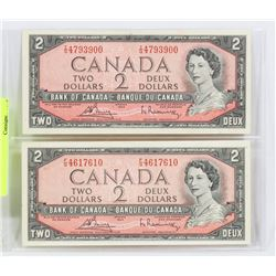LOT OF TWO 1954 CANADIAN $2.00 BILLS BOUEY &
