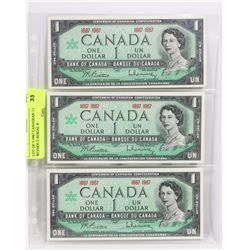 LOT OF THREE 1967 CANADIAN 1.00 BILLS WITH NO