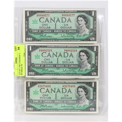 LOT OF THREE 1967 CANADIAN 1.00 BILLS W/SERIAL #'S