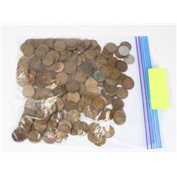 BAG OF ASSORTED US PENNIES.