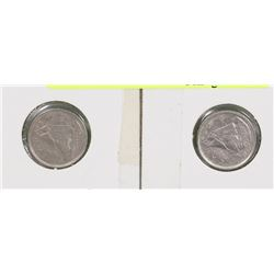 LOT OF TWO 1969 CANADIAN 10 CENT COINS