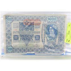 1902 AUSTRIAN 1000 KRONEN BILL.