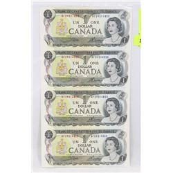 UNCUT SHEET OF 4 UNC 1973 CANADIAN DOLLAR