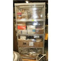 PALLET OF SHOP SUPPLIES AND MISC. W/2 SHELVES