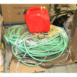 PALLET WITH HOSES , ELECTRICAL CORDS , ETC.