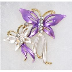 PURPLE AND WHITE DUAL BUTTERFLY RHINESTONE BROOCH