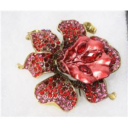 MULTI COLOR FLORAL RHINESTONE BROOCH.