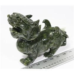 GREEN STONE FOO DOG ORIENTAL DECORATION, STATUE