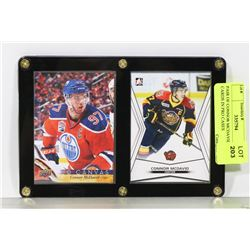 PAIR OF CONNOR MCDAVID HOCKEY CARDS IN PRO CASES