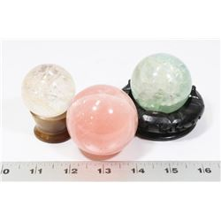 SET OF 3 ROCK QUARTZ SPHERES - GREEN, PINK