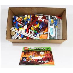 BOX W/HUNDREDS OF PIECES OF LEGO &
