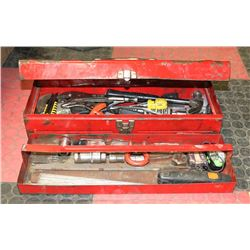 RED METAL TOOL BOX FILLED W/ TOOLS