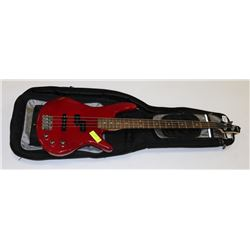 RED IBANEZ BASS GUITAR WITH SOFT CASE.