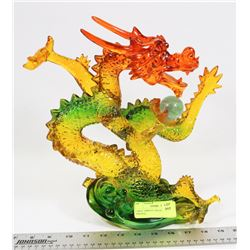 LARGE VIBRANT DRAGON STATUE (ORANGE,