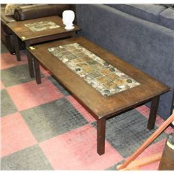 SOLID WOOD COFFEE TABLE SET WITH TILE & STONE