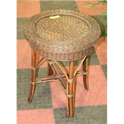 "ROUND WICKER SIDE TABLE 24""X21""."