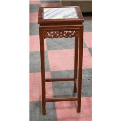 "WOOD MARBLE LIKE PLANT STAND 32"" TALL"