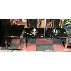 BLACK TEMPERED GLASS & METAL END TABLE & COFFEE
