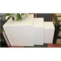 3PC WHITE NESTING TABLES.