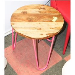 WOOD TOP WITH METAL BASE END TABLE