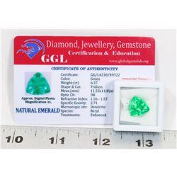 #113-NATURAL GREEN EMERALD LOOSE GEMSTONE 6.37CT