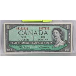 GEM UNC CANADIAN 1954 $1 BILL