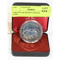 1980 POLAR BEAR CASED SILVER CANADIAN $1 COIN