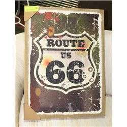 "NEW ROUTE 66 FRAMED BURLAP CANVAS PRINT 17""X22"""
