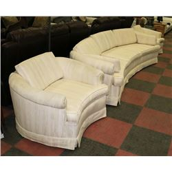 """WHITE UPHOLSTERED 103"""" SOFA WITH TWO 39"""" CHAIRS."""