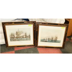 LOT OF 2 NAVAL SCENES 1844 FRAMED MATTED WITH