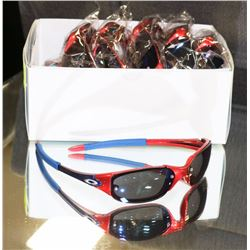 BOX OF RED  AND BLUE OAKLEY STYLED SUNGLASSES