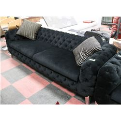 "88"" BLACK FABRIC SHOWHOME SOFA W/ ACCENT PILLOWS."