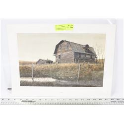 ABANDONED LOG CABIN DERELICT BUILDING LITHOGRAPH
