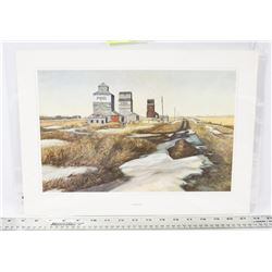 ABANDONED GRAIN TOWER COUNTRY SEEN LITHOGRAH