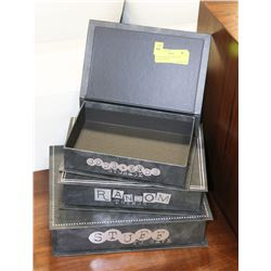 3PC SHOWHOME BOOK STYLE TRINKET BOXES.