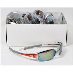 BOX OF ORANGE AND SILVER OAKLEY STYLED SUNGLASSES