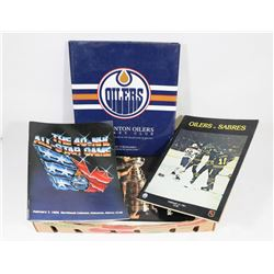 BOX W/ VINTAGE OILERS GRETZKY COLLECTIBLES