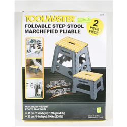 2 PIECE TOOLMASTERS FOLDABLE STEP STOOL