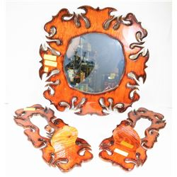 3PC CARVED MIRROR SET.