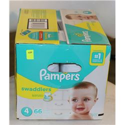 BOX OF 66 PAMPERS SWADDLERS SIZE 4