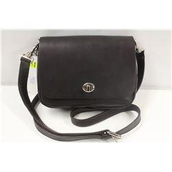 M0851 BROWN SMALL FLAP TURNLOCK CLUTCH BAG