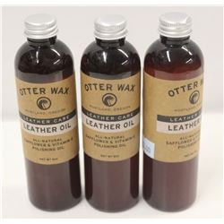 3 BOTTLE OF OTTER WAX LEATHER OIL