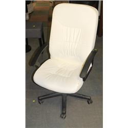 ADJUSTABLE WHITE SOFT LEATHER OFFICE CHAIR W/