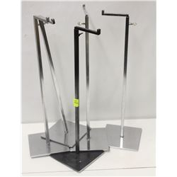 LOT OF 5 SQUARE CHROME-ROD PRODUCT DISPLAY STANDS